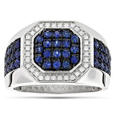 Unique Men's Diamond Rings: This Gold Diamond and Blue Sapphire Mens Ring by Luxurman weights approximately 12 grams and featuring carats of dazzling white diamonds and carats of blue sapphires. This unique men's sapphire diamond ring is avai Blue Topaz Diamond, Blue Sapphire Rings, Sapphire Band, Unique Mens Rings, Rings For Men, 14k Gold Ring, Gold Rings, Mens Gemstone Rings, Gents Ring