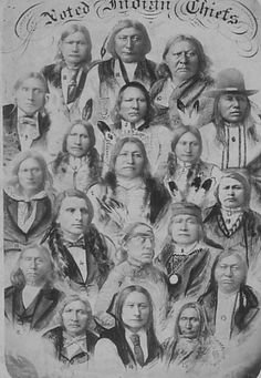 Photographs taken by John N. Choate. Pictured are Spotted Tail (Sioux), Iron Wing (Sioux), American Horse (Sioux), Red Shirt (Sioux), White Eagle (Ponca), Standing Buffalo (Ponca), Poor Wolf (Mandan), Son-of-the-Star (Arickaree), White Man (Apache), Stumbling Bear (Kiowa), Tso-de-ar-ko (Wichita), Big Horse (Cheyenne), Bob Tail (Cheyenne), Man-on-the-Cloud (Cheyenne), Mad Wolf (Cheyenne), Little Raven (Arapahoe), Yellow Bear (Arapahoe), Left Hand (Arapahoe), and Ouray (Ute).
