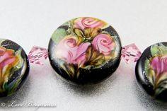 Lampwork Bead Set: Pink Roses Watercolor Style Focal and Earring Pair by LoriBergmann
