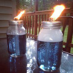 Mason jar tiki torches