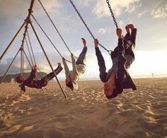 swinging upside down