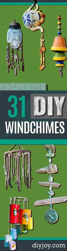 DIY Wind Chimes - Easy, Creative and Cool Windchimes Made from Wooden Beads, Pipes, Rustic Boho and Repurposed Items, Silverware, Seashells and More. Step by Step Tutorials and Instructions http://diyjoy.com/diy-wind-chimes