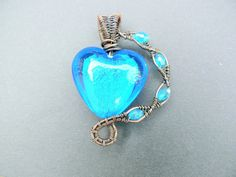 Blue Steampunk Goth Heart Pendant by adornjewels on Etsy pin to save or click to buy