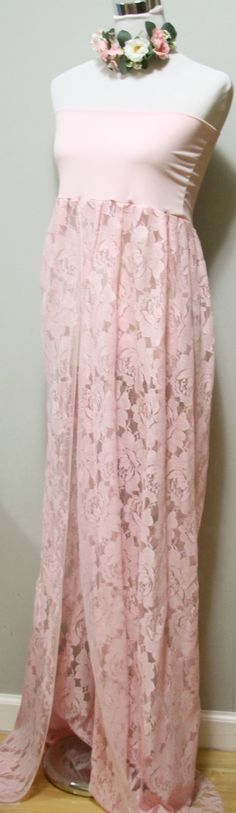 Rose Garden Lace Maternity Gown Photo Prop Pink by SilkFairies, $69.00