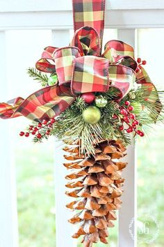 - DIY Christmas decorations are fun projects to do with your family and friends. At the same time, DIY Christmas decorations will come in handy when you. Christmas Pine Cones, Plaid Christmas, Rustic Christmas, Handmade Christmas, Christmas Tree Ornaments, Christmas Holidays, Christmas Wreaths, Primitive Christmas, Stone Gable Christmas