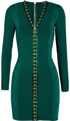 Balmain - Ribbed Stretch-knit Mini Dress - Emerald