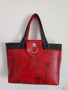 Sac Madison rouge et noir cousu par Alexia - Patron Sacôtin