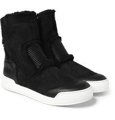 Balmain Shearling High Top Sneakers | MR PORTER