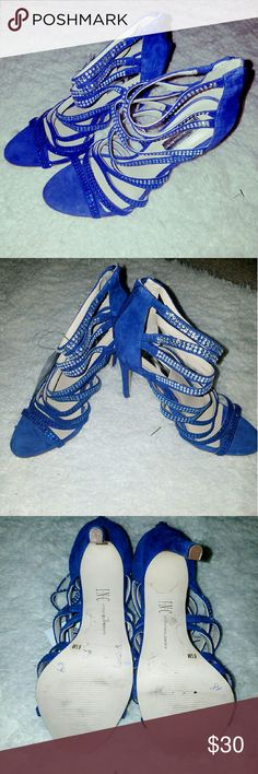Royal Blue heels. INC Royal Blue sandles. Like new...got it on sale at Macy, never WORN. INC International Concepts Shoes Sandals