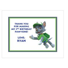 Paw Patrol Rocky Note or Thank You cards Style #2