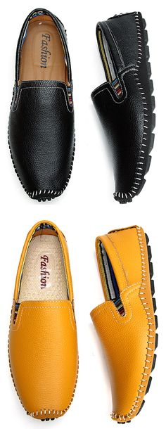 Big Size Men Leather Sewing Slip On Toe Protecting Casual Doug Shoes