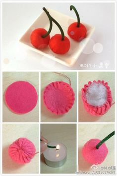 Very cute and easy felt crafts projects. How to make felted strawberryStep by step crafts - Step by step crafts Felt Diy, Felt Crafts, Fabric Crafts, Sewing Crafts, Diy And Crafts, Felt Flowers, Fabric Flowers, Felt Food Patterns, Felt Cake