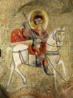 Imagem de São Jorge na caverna do personagem Zyah na novela Salve Jorge Saint George And The Dragon, Religious Art, Byzantine, Fresco, Astronomy, Medieval, Saints, History, Folktale