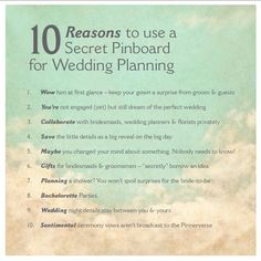 10 Reasons to use a Secret Pinboard for your wedding ideas