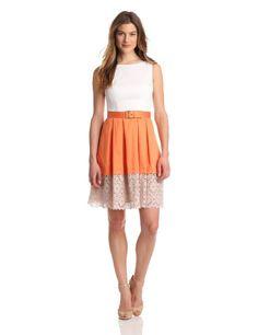 Amazon.com: Maggy London Womens Belted Skirt Detailed Dress, Mandarin, 12: Clothing