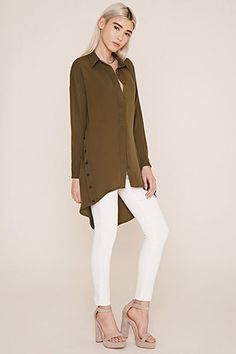 Buttoned-Side Longline Shirt | Forever 21 - 2000223618