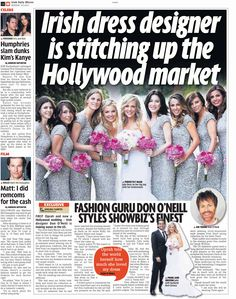 The Irish Daily Mirror featured a full page story on THEIA designer Don O'Neill dressing Julie Benz and her bridal party.  #wedding #THEIA