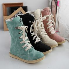f0bf0f3d9db Spring Fall Flat Heel Casual Plus Size Lace Up Women Boots