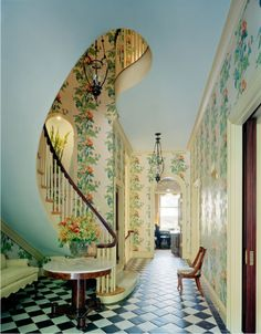 Vintage wallpaper with checkered tile. Also, this achitecture is amazing. Very Through the Looking Glass!