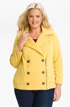 Super cute coat. Plus sized ladies: please do not be afraid of color! Splendid Moto Peacoat (Plus) available at #Nordstrom