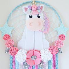 "18 Likes, 2 Comments - Enchanted Felt Shop (@enchanted_felt_shop) on Instagram: ""Unicorn Dream Catcher With pretty pink flowers  #unicorn #unicorndecor #iloveunicorns…"""