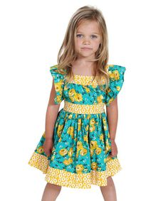 Loving this Green Georgia English Rose Boho Woven Dress - Toddler & Girls on #zulily! #zulilyfinds