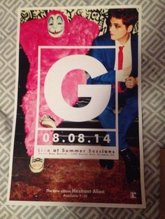 """Gerard Way (and Lola), poster for """"Live at Summer Sessions"""", 2014-08-08."""