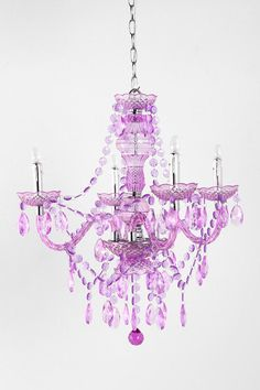 Duchess Chandelier from Urban Outfitters ~ Very affordable & Prettier in Purple! Kids Chandelier, Purple Chandelier, Modern Chandelier, Chandelier Bedroom, Glass Chandelier, Urban Outfitters, Leopard Nursery, Purple Rooms, Apartment Essentials