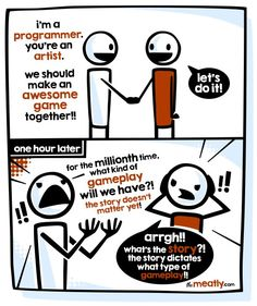#gamedesign THIS is the IMPOSSIBLE battle of #gamedev.. O.o#devhumor #artists #indiedev http://pic.twitter.com/F24jQNQGjf  theMeatly (themeatly)    game design pro (@Game___Design) September 6 2016