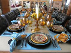 The Welcomed Guest: Another Amber Tablescape Place Settings, Table Settings, Amber Color, Colored Glass, Tablescapes, A Table, Dishes, Table Manners, Meal Planning