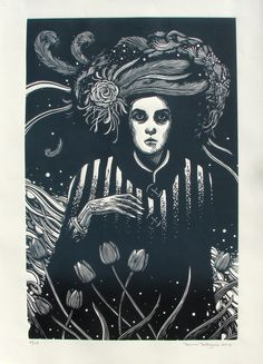 By Ramon Rodrigues.  Woodcut.