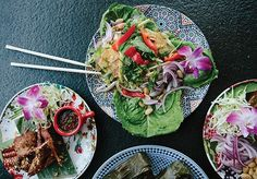 The fried quail (left) and spicy fish salad will be new to Chai Thai Noodles fans. - MELATI CITRAWIREJA