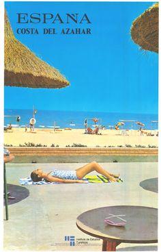 Costa de Azahar, Castellon, Comunidad Valenciana, Spain. Cartel de #turismo de España del año 1970 via #Viajology Western Europe, Lucca, Pool, Vacation, Vacation Trips, Benidorm, Around The Worlds, Outdoor Decor, World