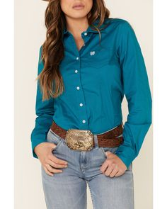 Cinch Women's Teal Solid Button Front Long Sleeve Western Shirt , Teal Country Wear, Button Down Collar, Western Shirts, Shirt Blouses, Westerns, Teal, Long Sleeve, Cotton, How To Wear