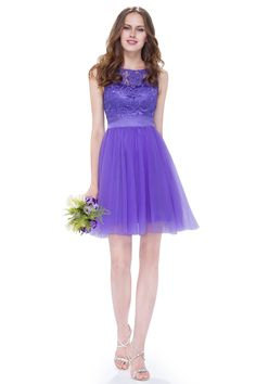 Short Lilac Bridesmaid Dresses Purple Ever Pretty Lace Women Elegant Round Neck Sleeveless 2017 Wedding Party Dress Lilac Bridesmaid Dresses, Lilac Dress, Prom Dresses, Chiffon Skirt, Chiffon Tops, Lace Chiffon, Matric Dance Dresses, Sheer Lace Top, Short Cocktail Dress