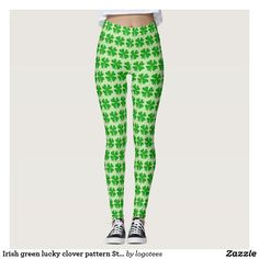 a3b717aaaf Irish green lucky clover pattern St Patricks Day tights for women. Cute  costume outfit leggings
