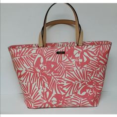 """⚡️FLASH SALE⚡️Spade Grant Street Jules Floral tote Style No - WKRU2675 Condition - New with tags! Retail Price: $275 + TAX  Materials Outside – Textured Vinyl with Leather Trim Hardware - 14K light gold plated hardware Inside – Kate Spade Signature Sateen Lining (Beige)  Features Pink / White floral pattern Tote with Zip Top Closure Dual leather handles with a 9"""" drop Kate Spade New York gold plated signature plaque on front kate spade Bags Totes"""