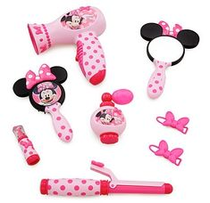 Disney Store Minnie Mouse Beauty Set Brush Mirror Curling Iron Hair Dryer Toy | eBay