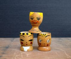 Whimsical Wooden Egg Cups with Faces, Norway and Japan, Norge Wooden Egg Cup by TheRecycleista on Etsy