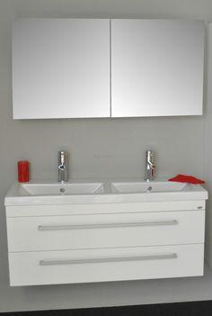 Sanicare badmeubel Q1 hoogglans wit 120 cm. met spiegelkast itemprop=