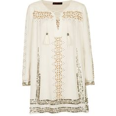 **Embroidered Smock Dress by Kate Moss for Topshop (€47) ❤ liked on Polyvore featuring dresses, topshop, tops, vestidos, cream, white sequin dress, cream embroidered dress, white dress and white smock dress