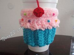 crochet cozy coffee warm tea cupcake cherry and by Nora23 on Etsy