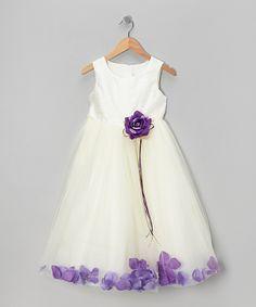 Ivory & Purple Flower Petal A-Line Dress