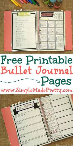 If you don't have a creative side but might want to try bullet journaling check out these free printable bullet journal pages. Bullet journal day planner free printable planner day planner pages get organized If you don't have a Bullet Journal Agenda, Bullet Journal Examples, Bullet Journal Printables, Bullet Journal Layout, Bullet Journal Inspiration, Bullet Journals, Journal Template, To Do Planner, Planner Pages
