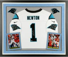 7c7de6fc1 Cam Newton Carolina Panthers Deluxe Framed Autographed Nike Elite White  Jersey