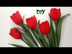 DIY- How to make paper Tulip flower from crepe paper - Realistic and easy - YouTube