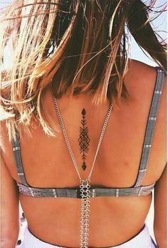 Dainty Bohemian Back Tattoo