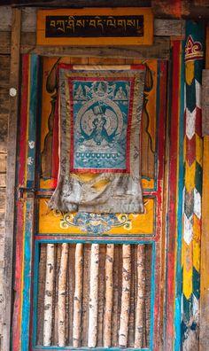 Tibetan door in Jiuzhaigou, China.