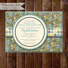 Shabby Style Cute as a Button Baby Shower Invite, Button Invitation, Button Baby Shower Invitation, Button Invite, Boy Baby Shower Invite by MommiesInk on Etsy https://www.etsy.com/listing/99562133/shabby-style-cute-as-a-button-baby