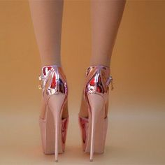 cde47eee7df Women s Pink Stripper Heels Super Stiletto Heel Ankle Strap Sandals  Stripper Heels